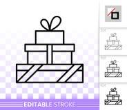 Enkel svart linje vektorsymbol för gåva royaltyfri illustrationer