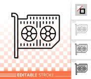 Enkel svart linje vektorsymbol för grafiskt kort royaltyfri illustrationer
