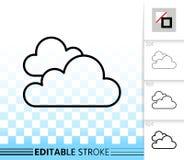 Enkel svart linje vektorsymbol för moln vektor illustrationer