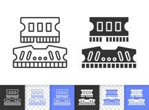 Enkel svart linje vektorsymbol för RAM stock illustrationer