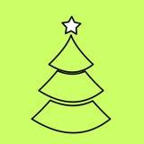 Enkel svart symbol med bilden av konturen av julen Arkivbilder