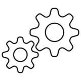 Enkel symbol för kugghjul mot förälskelse för illustration för hjärtor för bakgrundskonturpar kyssande Arkivfoton