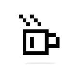 Enkel symbol för svart för kopp för kaffe 8bit royaltyfri illustrationer