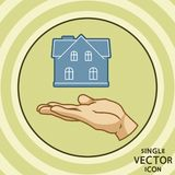 Enkel symbol för vektorfärglägenhet för delshus för gods försäljning för hyra verklig stock illustrationer