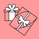 Enkel symbol med bilden av svarta gåvor för en kontur med vit b Arkivbilder