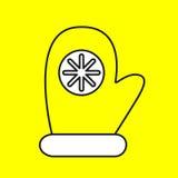 Enkel symbol med bilden av svarta handskar för en kontur på en guling Royaltyfri Bild