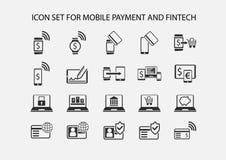 Enkel symbolsuppsättning för mobil betalning och elektronisk betalning royaltyfri illustrationer