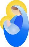 Enkel teckning av en gravid kvinna, jungfruliga Mary Arkivfoton