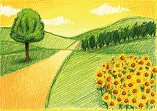 Enkel teckning av ett landskap Arkivbild