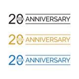 Enkel 20th vektor för årsdagårslogo guld- färg för blå svart Royaltyfri Illustrationer