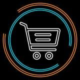Enkel tunn linje vektorsymbol för shoppa vagn stock illustrationer