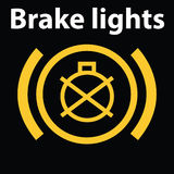 Enkel upplyst bilinstrumentbrädasymbol av bromsljusfel Varningsinstrumentbrädasymbol, DTC-kod stock illustrationer
