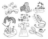Enkel uppsättning av att sy den släkta vektorlinjen symbolsillustrationer på vit bakgrund stock illustrationer