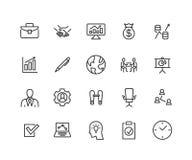 Enkel uppsättning av den affär släkta vektorlinjen symboler Innehåller sådana symboler som En-på-En mötet, affärskommunikation Royaltyfri Foto