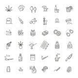 Enkel uppsättning av den droger släkta vektorlinjen symboler royaltyfri illustrationer