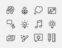 Enkel uppsättning av den kreativitet släkta vektorlinjen symboler Innehåller sådana symboler som inspiration, idé, hjärna och mer stock illustrationer
