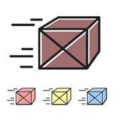 Enkel uppsättning av den leverans släkta färgvektorlinjen symboler Royaltyfri Fotografi