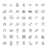 Enkel uppsättning av den offentlig navigering släkta vektorlinjen symboler Arkivfoto