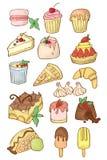 Enkel uppsättning av efterrätter Isolerad tecknad filmillustration Klassiska sötsaker stock illustrationer