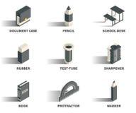 Enkel uppsättning av isometriska symboler 3D Fotografering för Bildbyråer