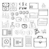 Enkel uppsättning av släkta vektorsymboler för pengar för din design Hand-dragen stil Arkivbilder