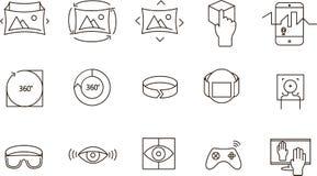 Enkel uppsättning av 360 VR-symboler Royaltyfri Fotografi