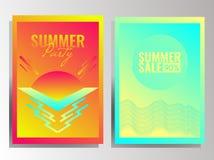 Enkel uppsättning för sommarvektorbakgrund royaltyfri illustrationer