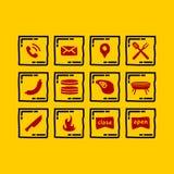 Enkel uppsättningsymbol av grillfesten royaltyfri illustrationer