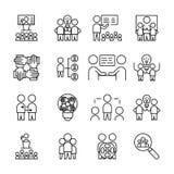 Enkel upps?ttning av den Team Work symbolen linjärt teckensymbol vektor illustrationer