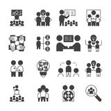 Enkel upps?ttning av den Team Work symbolen symbol för tecken för vektorskårastil royaltyfri illustrationer
