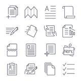Enkel upps?ttning av dokumentsymboler Inneh?ller s?dana symboler som att bearbeta f?r gruppering, lagliga dokument, skrivplattan, royaltyfri illustrationer