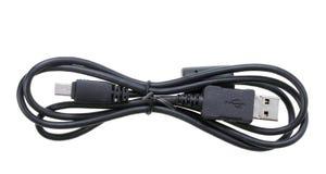 enkel usb för svart kabel Arkivbild