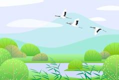 Enkel vår Lanscape med japanska kranar för flyg stock illustrationer