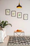 Enkel vardagsrum med tabellen fotografering för bildbyråer