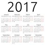 Enkel vektorkalender 2017 Arkivfoto