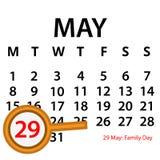 Enkel vektorkalender Maj 29th Fira minnet av familjdagen vektor illustrationer