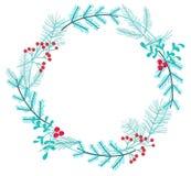 Enkel vinterkrans som g?ras av filialer och b?r royaltyfri illustrationer
