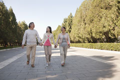 Enkelin mit den Großeltern, die in den Park, in das Händchenhalten und im Lächeln gehen Stockfoto