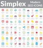 Enkelsidigt - moderna SEO Icons (färgversionen) Arkivfoto