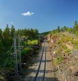 Enkelsporige spoorweg in Helsinki, Vyborg Stock Foto's