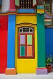 Enkelt avsnitt av interestingly färgade Tan Teng Niah Residence Fotografering för Bildbyråer