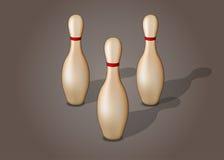 Enkelt bowlingstift med det isolerade röda bandet Arkivfoton