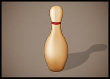 Enkelt bowlingstift med isolerade röda band Royaltyfria Foton