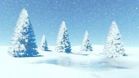 Enkelt dagvinterlandskap med granar på snöfall stock illustrationer