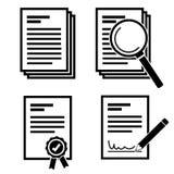 Enkelt dokument och sökandedokument med den fastställda vektorn för förstoringsglassymbol stock illustrationer