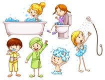 Enkelt färgat skissar av folk som tar ett bad Arkivfoton