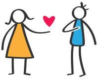 Enkelt färgrikt pinnediagram kvinna som ger förälskelse röd hjärta till den isolerade mannen på vit bakgrund, förklaring av föräl royaltyfri illustrationer