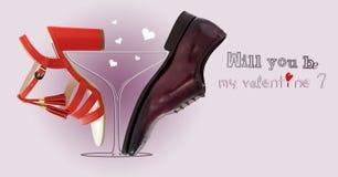 Enkelt förälskelsebegrepp med skor Arkivbild