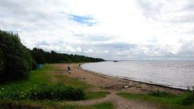 Enkelt folk som sitter nära vattnet på stranden på den sandiga kusten av sjön på en blåsig dag stock video