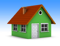 enkelt grönt hus Royaltyfri Fotografi